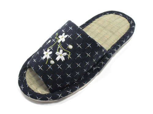 Indoor LIFE GREEN Flower Bamboo KNP26809T Blue KNP Slippers Women Jpanese with Tatami aqOTwS46x