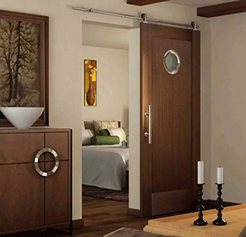 SEIDO Heavy Duty 10 Inches Pull and Flush Barn Door Handles Set, Large Rustic Two-Side Design, for Gates Garages Sheds Furniture, Satin Stainless Steel Finish, Round by SEIDO (Image #3)