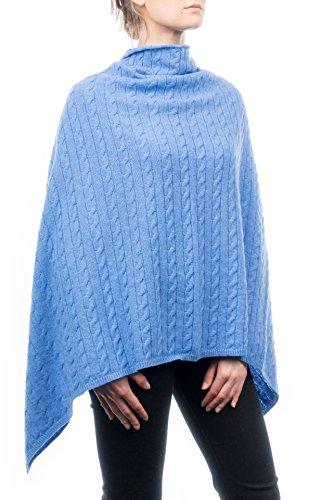 Dalle A Poncho Misto Treccia Azzurro Cashmere Donna Piane In rqYwtr