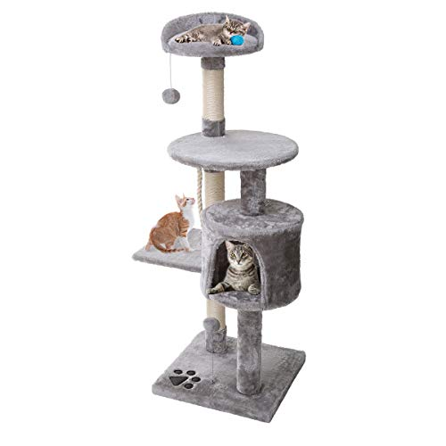 Petonaut Cat Tree Cat Tower Scratching Posts for Cats Kitten Grey Fuiniture Cat Tree Scratcher Activity Centre With Sisal Scratching Posts Hammock Perches Platform and Dangling Ball (Grey 2)