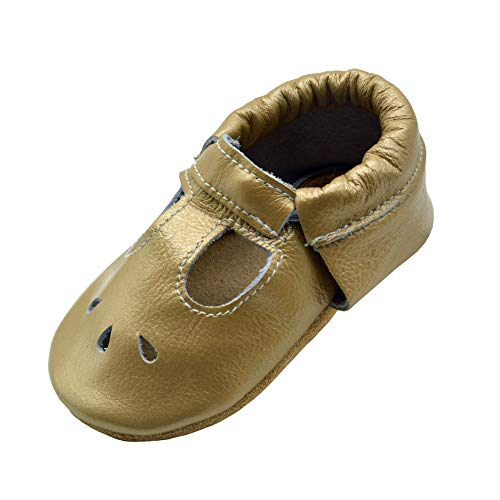 iEvolve Baby Shoes Baby Toddler Soft Sole Prewalker Baby First Walking Shoes Crib Shoes Baby Sandal(Light Gold Sandal, 12-18 Months)