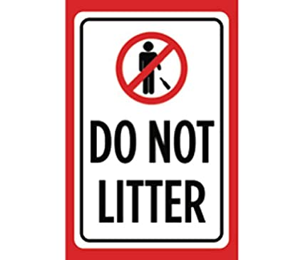 Amazon Do Not Litter Print Red White Black Picture Symbol