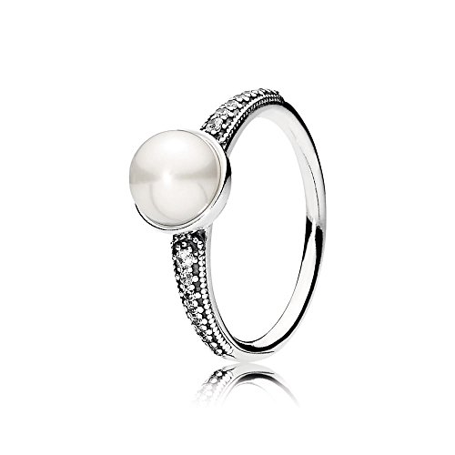 Pandora Elegant Beauty Ring, White Pearl & Clear CZ, 7 US, 191018P-54
