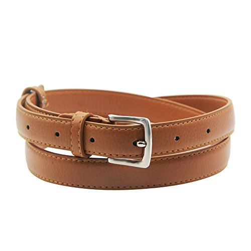 - Womens Belt Skinny Leather Solid Color Pin Buckle Simple Waist for Girls Ladies