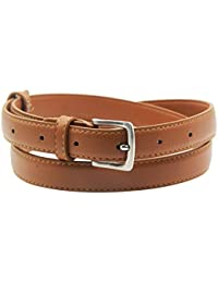Womens Skinny Leather Belt Solid Color Pin Buckle Simple Belts