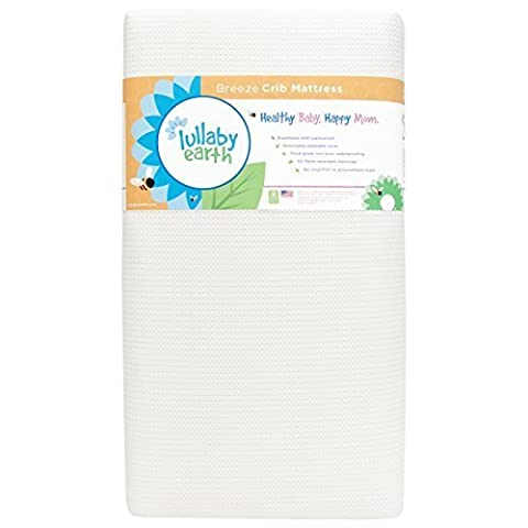 Lullaby Earth Breeze 2- Stage Crib Mattress - White by Naturepedic - 2 Free Mattresses