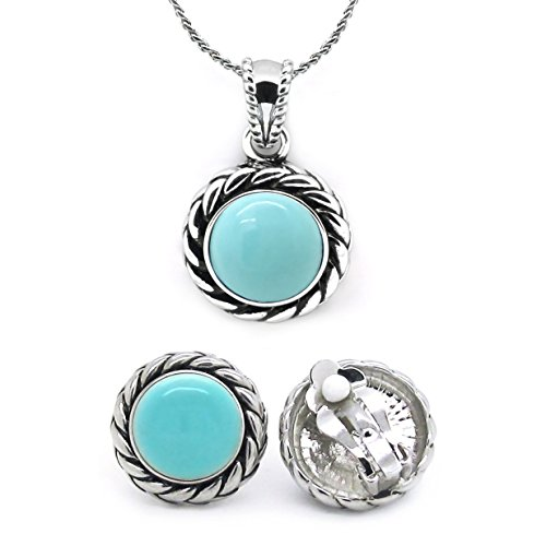 Jewelry Set Blue Dome Pendant Necklace Matching Clip On Earrings Braided Rope Women ()