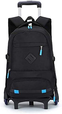 BAJIMI ハイキングバックパック、学生のバックパック、少年少女のスクールバックパックローリングBookbagためのローリングバックパックキャスター付きバックパック防水バックパック旅行バックパックバッグ、C、六ラウンド