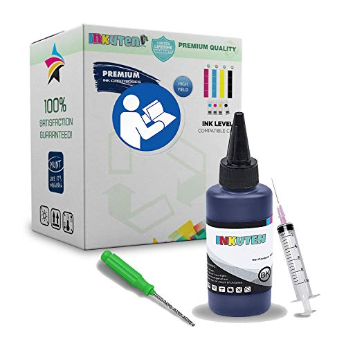 26 51626a Black Ink Cartridge - INKUTEN Refill Kit for HP 26 51626A Ink Cartridge, With 100ml Premium dye Ink, Syringes/Needles, Drill Tool