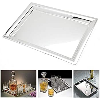 Le'raze Elegant Mirrored Rectangular Silver Tray, Mirrored Tray for Whiskey Decanter, Candle Sticks, Vanity Set, and Serving