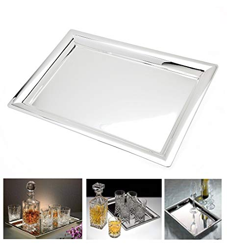 (Le'raze Elegant Mirrored Rectangular Silver Tray, Mirrored Tray for Whiskey Decanter, Candle Sticks, Vanity Set, and Serving)