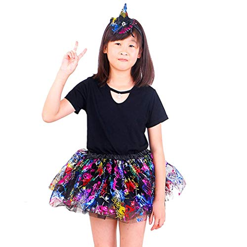 Suma-ma 2 Pcs Baby Girls Kids Fashion and Dance Halloween Ballet Skirts Fancy Party Skirt+Headband Outfit Set (One Size) ()