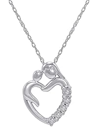 Journey Diamond Mom and Child Heart Pendant-Necklace in Sterling Silver