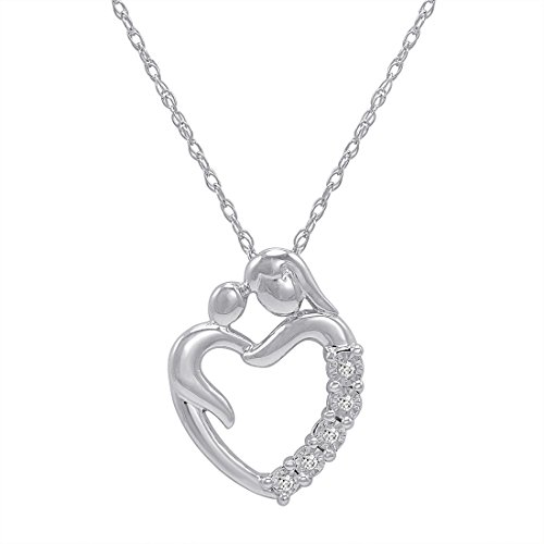 Mother Child Heart Necklace - Diamond Mom and Child Heart Pendant-Necklace in Sterling Silver