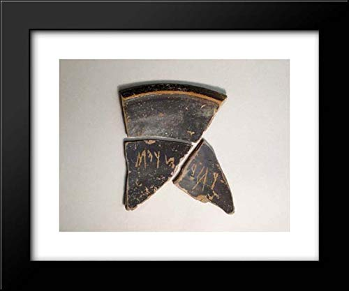 Etruscan Culture - 18x15 Framed Museum Art Print- Terracotta Bowl Fragments with Graffito Inscription ()