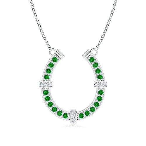 Pave Diamond and Emerald Horseshoe Charm Pendant Necklace for Women in Platinum (1.3mm Emerald) (Emerald Horseshoe)