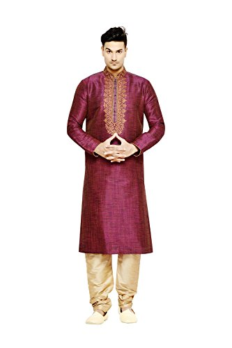 PinkCityCreations Indian Traditional Designer Partywear Ethnic Purple Mens Kurta Pajama by PinkCityCreations