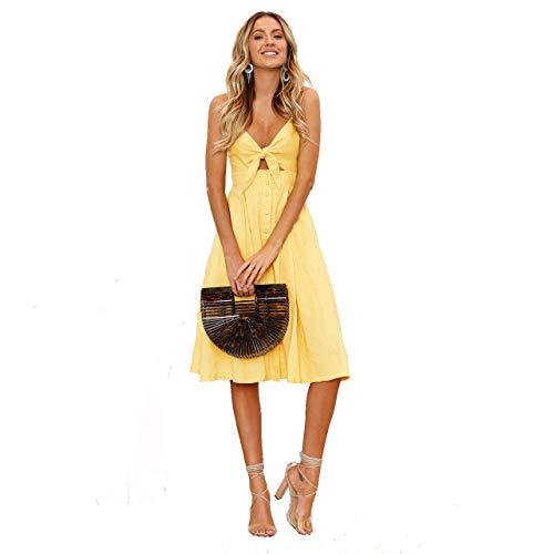 Summer Dress Strap Sundress Beach Yellow Front Tie Women Sexy MAKARTHY Dress for Midi Spaghetti 2 Women's zfqnIIEP4