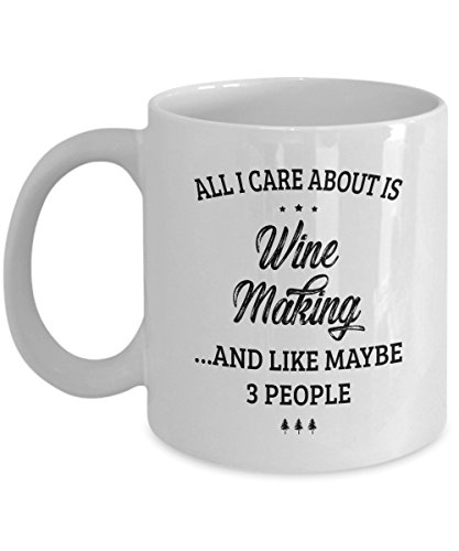 Cherry White Zinfandel Wine (Wine Making Mug - I Care And Like Maybe 3 People - Funny Novelty Ceramic Coffee & Tea Cup Cool Gifts for Men or Women with Gift Box)