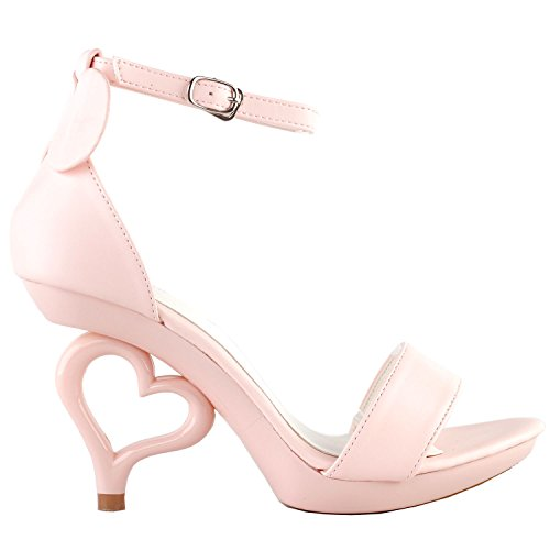 Show Story Strappy Ankle Strap Bride Wedding Dancing Heart Heels Sandals,SM33101 Baby Pink Mouse Ear