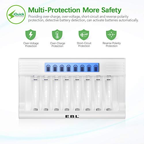 EBL LCD Battery Charger with Intelligent Battery Detection Tech for AA AAA Rechargeable Batteries - 2300mAh AA Battery x 4, 1100mAh AAA Batteries x 4, 8 Slots Battery Charger and AA AAA Batteries Set