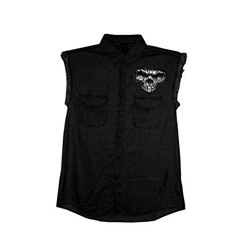 (Hot Leathers Men's Denim Shredder Skull Sleeveless Shirt (Black, X-Large))