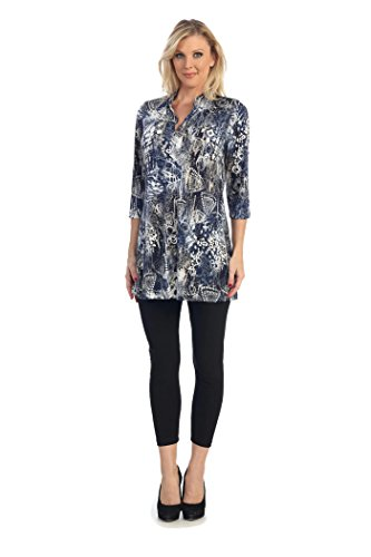 Caribe Women's Mandarin A-line Tunic Plus Size (3X, Denim Mix)