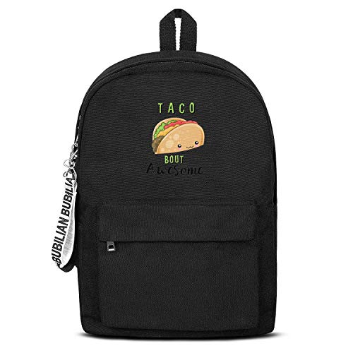 Taco Bout Awesome Cute Tacos Women Men Water Resistant Black Canvas School Backpack Student Backpack -