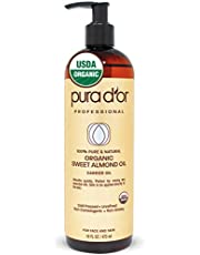 PURA D'OR Carrier Oil: Organic Sweet Almond Oil 16 oz USDA Certified Organic 100% Pure & Natural Hexane Free Soothing Vitamin E Oil for Skin & Face, Body and Facial Polish, Massages, DIY Mix Base Oil