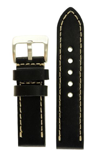 Panerai Style Thick Full Grain Leather Watch Band 26mm Wide, Black Color, With Heavy Stainless Steel Buckle - by JP Leatherworks