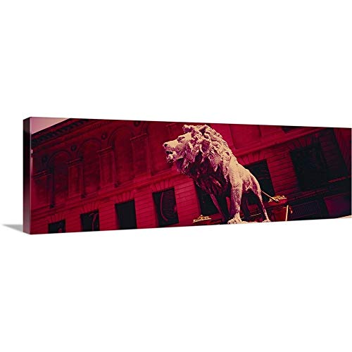 GREATBIGCANVAS Gallery-Wrapped Canvas Entitled Lion Statue in Front of an Art Museum, Art Institute of Chicago, Chicago, Illinois by 48