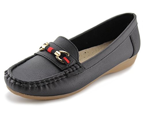 Slip Driving Loafers on Flat 1 Black Women's Casual Jabasic Shoes pxqFvRSF