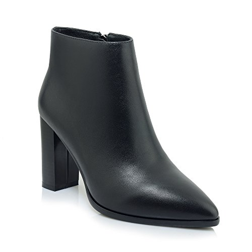 Ladies Sexy Zip Pointed Toe Block Heels Genuine Leather High Heels Ankle Women Boots Black
