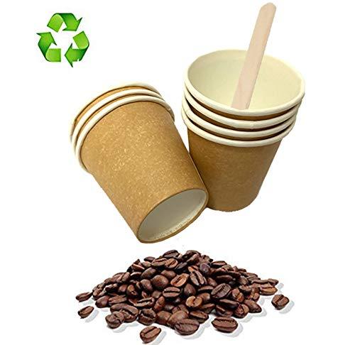 Color Habana Palucart biodegradables 3 oz Capuchino y caf/é 500 paletas de Madera de Abedul cart/ón para Bebidas Calientes 500 Vasos de Papel para caf/é 90 ml