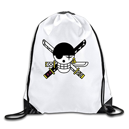 Zoro Flag Painted Skull Sword White Drawstring Backpack Sport Bag For Men & Women (Lady Zoro)