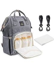 Wickeltasche rucksack Baby Wickelrucksack wickeltasche reisen baby wickelrucksäcke Reisewickeltasche für2-3 Flaschen und Kinderwagenhaken mit Kinderwagen Befestigungshaken