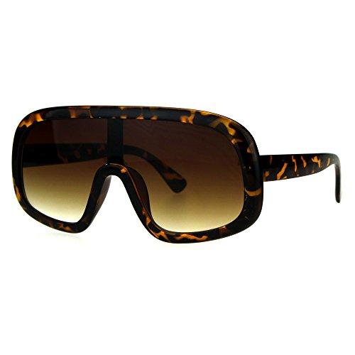 Shield Goggle Style Sunglasses Futuristic Oversized Shades UV400 Tortoise, - Futuristic Goggles