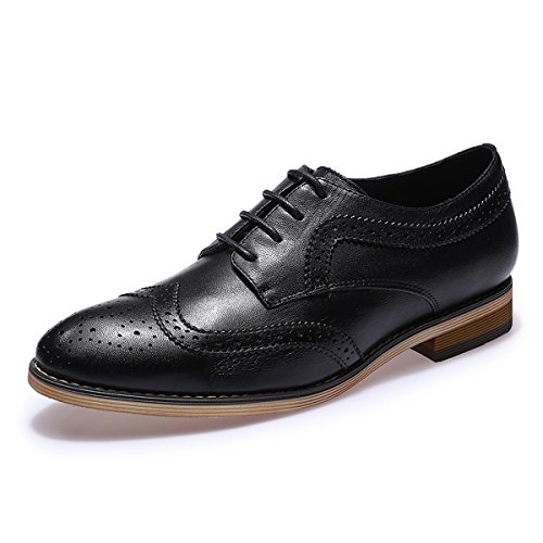 Mona+Flying+Women%27s+Leather+Perforated+Lace-up+Oxfords+Shoes+for+Women+Wingtip+Multicolor+Brougue+Shoes+%288.5%2C+Black%29