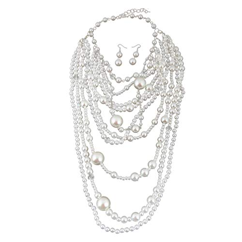 Thkmeet Fashion Multilayer Strand Simulated Pearl Statement Necklace and Earrings Set Women Long Sweater Chain Choker Necklace