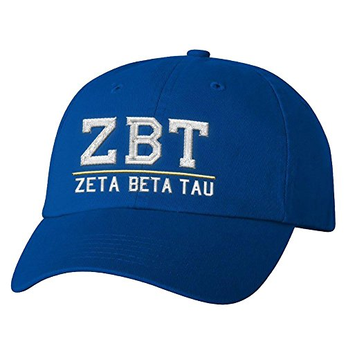 Zeta Beta Tau ZBT Old School Greek Letter Hat Royal Blue