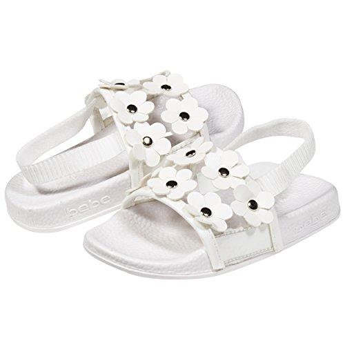 bebe Soft Slip-On Clear Vinyl and Flowers Slide Slippers Casual Lounge Street Fashion Open Toe Flat Sandal for Girls Toddler/Little Kid by Size 11-12 (Vinyl Slide)
