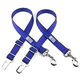 "Cheap DCbark 2 Pack Dog Car Seatbelts Adjustable Pet Seat Belt Vehicle Nylon Pet Safety Seat Belts (Large – 1″ x 16-27"", Navy Blue)"