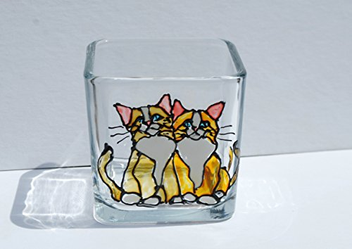 Kitty Cats Stained Glass Square Hand Painted Candle (Ambiance Candle Holder)