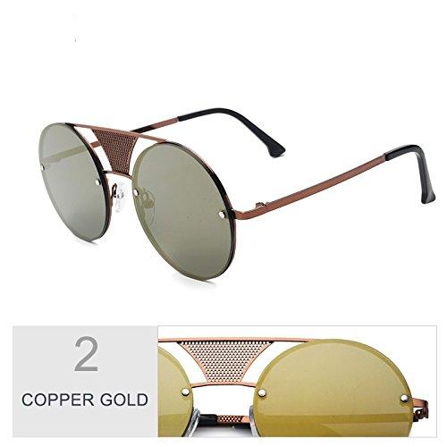 Color Gafas Copper Estilo TIANLIANG04 Unisex Negro Gold Sin Sol Metal Fotograma Gris Mujer Punk De CTwC0tOdxq