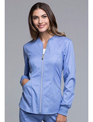 Cherokee Luxe by Women's Zip Front Warm-Up Solid Scrub Jacket X-Small CIEL (Jacket Zip Scrub Front)