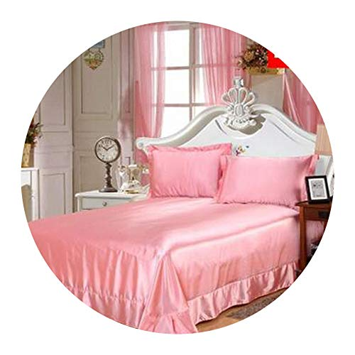 Solid Fitted Silk Bed Sheet Full Queen King bedsheet Mattress Cover Protective case Bedding,8,230x250cmright Angle