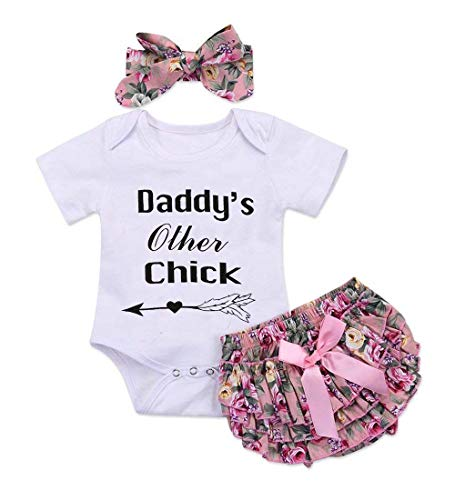 3PCS Baby Girls Worth The Wait/Daddy's Girl Print Outfit Clothes Romper Bodysuit Pants Headband - Body Baby Sleeping Suit