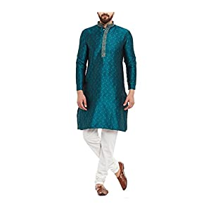 Sojanya (Since 1958) Men's Emerald Green Jacquard Silk Kurta & Churidaar Pyjama