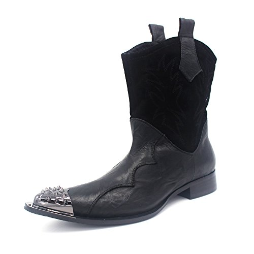 CoCosion Mens Punk Style Metal Rivet Leather Stitching Fashion Boots