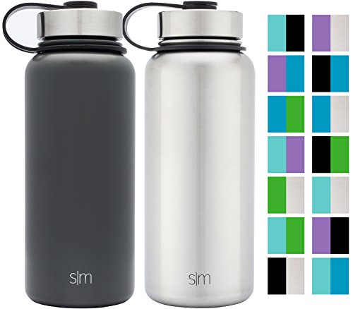 Simple Modern 32oz Summit Water Bottle 2 Pack - Two Vacuum Insulated Stainless Steel Wide Mouth Hydro Travel Mugs - Powder Coated Double-Walled Flask - Midnight Black/Stainless Steel